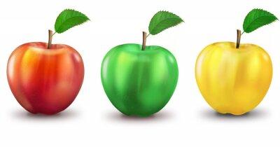 Adesivo 3 Äpfel rot, grün, Gelb, freigestellt