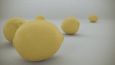 Adesivo 3 D rendono di Limoni gialli su sfondo bianco caduto da aria e rotolato sulla superficie infinita bianca.