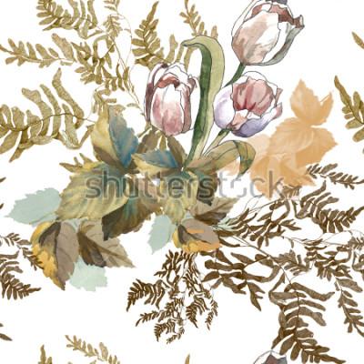 Adesivo 3 tulipani bianchi ed erba acquerello su fondo bianco senza cuciture per tessuti, carta