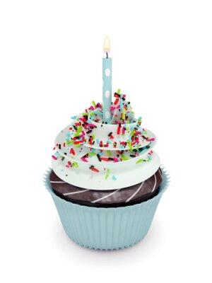 Adesivo 3d Cupcake dolce con candela isolato su bianco