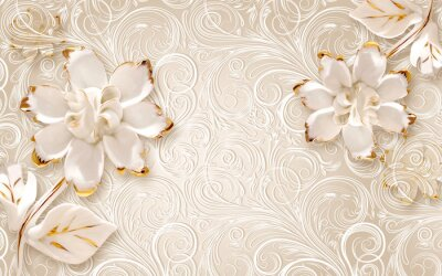 Adesivo 3d illustration, beige ornamental background, large white abstract gilded flowers