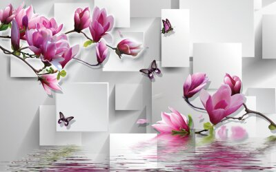 Adesivo 3d illustration, light background, rectangles, butterflies, magnolia