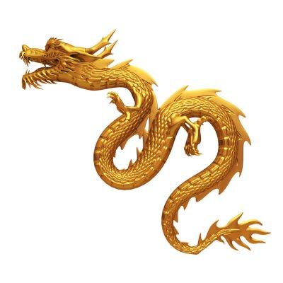 Adesivo 3D rendering del drago d'oro
