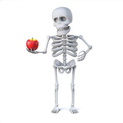 Adesivo 3d scheletro ha portato una mela per l'insegnante
