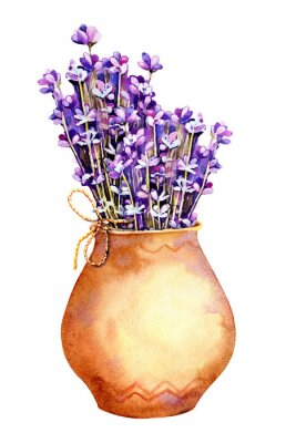 Adesivo A bouquet of lavender flowers, twigs tied with twine, a rope in a clay ceramic pot. Hand drawn watercolor illustration for design of wedding concept, birthday, Valentine's day, greetings.