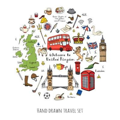 Adesivo A mano doodle disegnati Regno Unito impostato Illustrazione vettoriale icone UK Benvenuto ad elementi Londra raccolta simboli britannico del tè Bus Equitazione Golf Corona Birra Lion Bulldog London br