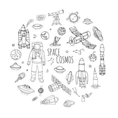 Adesivo A mano doodle disegnati Spazio e cosmo impostare vettore universo sistema solare elementi Concetto icone razzo spaziale simboli nave spaziale raccolta pianeti della Via Lattea Astronauta Tech icone a