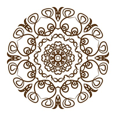 Adesivo A mano mandala hennè tatuaggio. Vector pizzo ornamento.