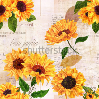 Adesivo A seamless pattern with hand drawn vibrant yellow watercolor sunflowers on the background of old letters, postcards, and newspaper scraps mockups, vintage style floral repeat print