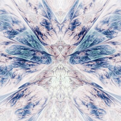 Adesivo Abstract intricate symmetrical rose and blue ornament. Fantastic fractal design. Psychedelic digital art. 3d rendering.