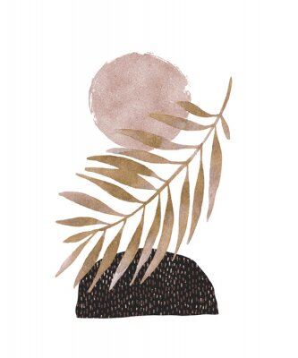 Adesivo Abstract poster design: minimal shapes, glossy golden tropical leaf.