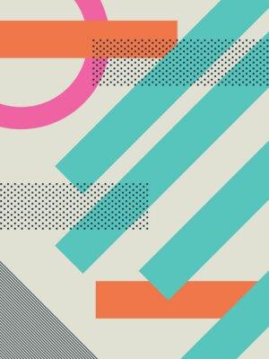 Adesivo Abstract retro anni '80 sfondo con forme geometriche e pattern. carta da parati materiale.