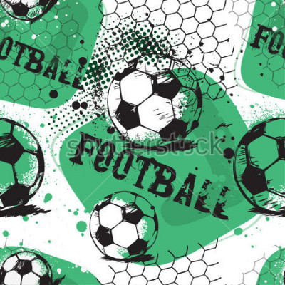 Adesivo Abstract seamless pattern for boys. Football pattern. Grunge urban pattern with football ball. Sport wallpaper on white background with black and green. Repeated sport pattern.