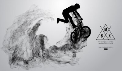 Adesivo Abstract silhouette of a bmx rider on the white background from particles, dust, smoke, steam. Bmx rider jumps and performs the trick. Background can be changed to any other. Vector illustration