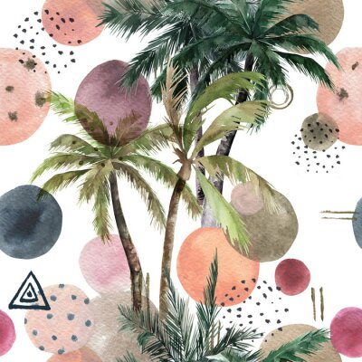Adesivo Abstract tropical pattern with palm trees. Watercolor seamless print. Geometric summer background