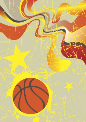Adesivo Abstract vertical basketball banner with yellow stars
