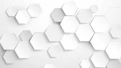 Adesivo Abstract white hexagon background. Vector Illustration