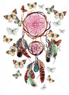 Adesivo Acchiappasogni con piume e mandala. Dreamcatcher etnico dell'acquerello e farfalla isolati su fondo bianco. Illustrazione dipinta a mano per il vostro disegno