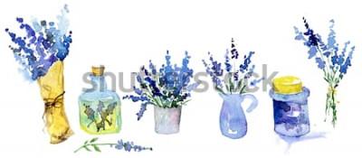 Adesivo Accumulazione dei fiori della lavanda su una priorità bassa bianca. Set di fiori vintage. Erbe da giardino. Erbe isolate su bianco. Pianta di erbe. progettazione del paese di giardinaggio. fioraio, de