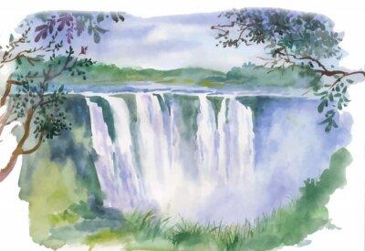 Adesivo Acquarello illustrazione di bella cascata