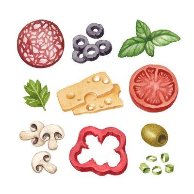 Adesivo Acquarello illustrazione di ingredienti alimentari