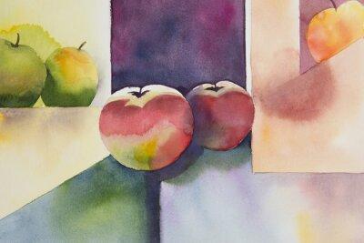Adesivo Acquarello originale, still life, disegno mela.