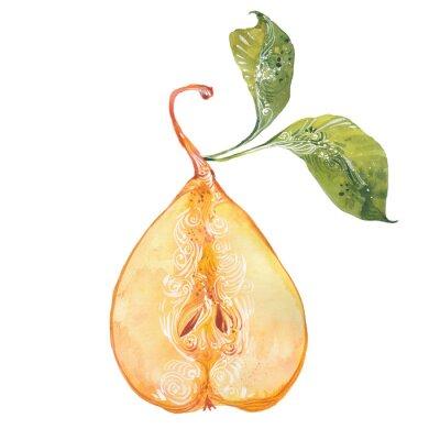 Adesivo acquarello pera gialla