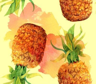 Adesivo Acquerello ananas sfondo senza soluzione di modello