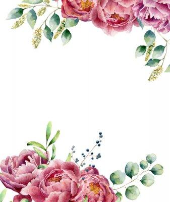 Adesivo Acquerello carta floreale isolato su sfondo bianco. stile posy Vintage impostato con rami di eucalipto, peonia, frutti di bosco, verde e foglie. disegno dipinto a mano Flower