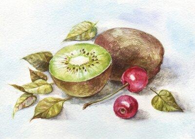 Adesivo acquerello ciliegia e kiwi