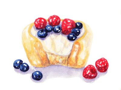 Adesivo Acquerello crostata di frutta di formaggio con frutti di bosco su sfondo bianco