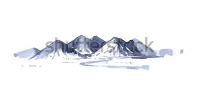 Adesivo Acquerello di montagne di disegno