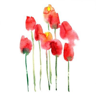 Adesivo Acquerello dipinto a mano rosso e giallo tulipani
