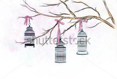 Adesivo Acquerello disegnato a mano tre gabbie da uccelli sui rami di albero con nastri rosa.