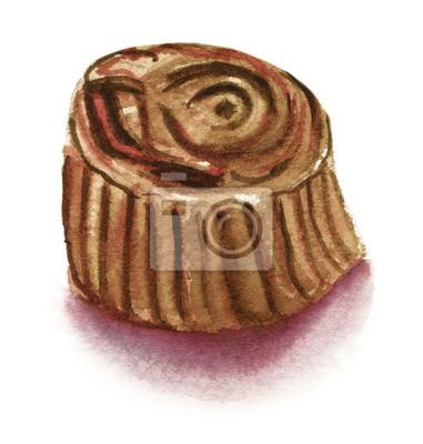 Adesivo Acquerello disegno di un bonbon di cioccolato su sfondo bianco