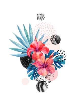 Adesivo Acquerello fiori tropicali su sfondo geometrico con marmorizzazione, texture di doodle