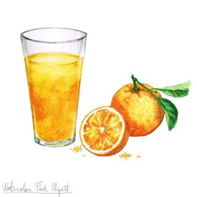 Adesivo Acquerello Food clipart - succo d'arancia isolato su bianco