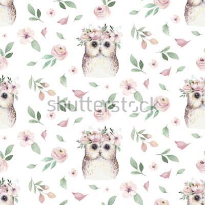 Adesivo Acquerello Mano senza cuciture illustrato motivo floreale con foglia floreale, fiori rosa e piccola civetta. Tessuto botanico del fondo della carta da parati della molla di boho dell'acquerello