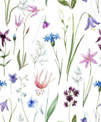 Adesivo Acquerello modello di fiori selvatici