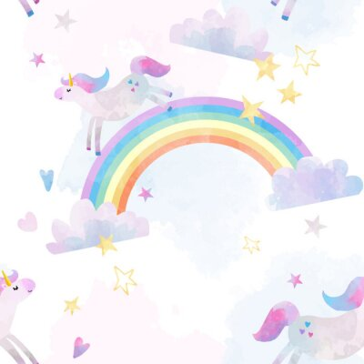 Adesivo Acquerello modello di unicorno vettoriale