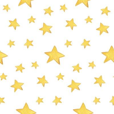 Adesivo Acquerello modello senza soluzione di continuità: Buon Natale, stelle gialle