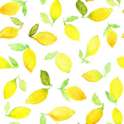 Adesivo Acquerello modello senza soluzione di continuità con i limoni gialli. Può essere utilizzato per carta da imballaggio, sfondo di compleanno, la festa della mamma e gli eventuali giorni festivi.