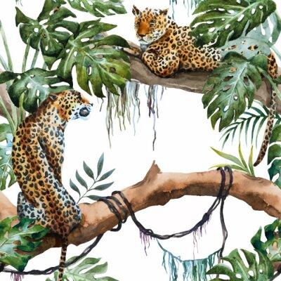 Adesivo Acquerello modello vettore leopardo
