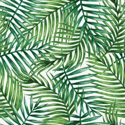 Adesivo Acquerello tropicali foglie di palma seamless. Illustrazione vettoriale.