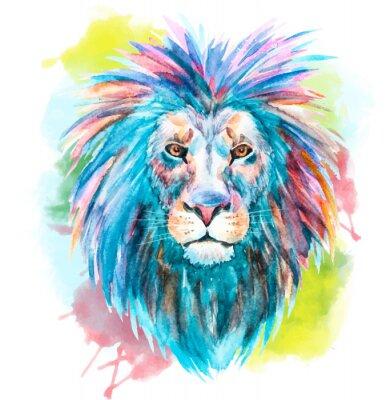 Adesivo Acquerello vettore leone