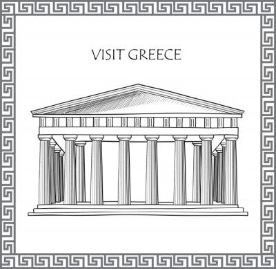 Adesivo Acropoli di Atene, Grecia. Visitare la Grecia carta. Ornamentali telaio tradizionale vettore greco.