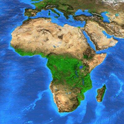 Adesivo Ad alta risoluzione mappa del mondo si è concentrato sull'Africa