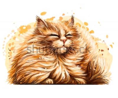 Adesivo Adesivo da parete. Il colore, il disegno grafico e artistico di un simpatico gatto birichino è strabico al sole su uno sfondo bianco con uno spruzzo di acquerello.