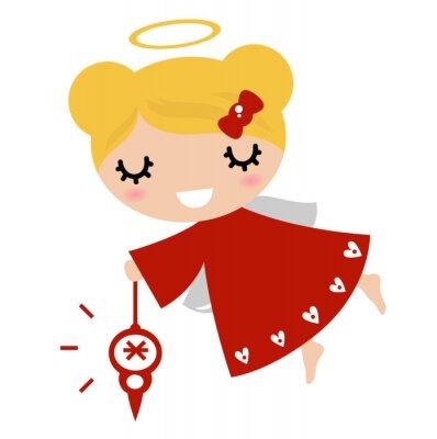 Adesivo Adorabile ragazza di angelo con le decorazioni di Natale (rosso)