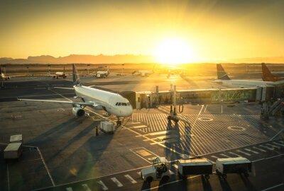 Adesivo Aeroplano al cancello terminal in aeroporto internazionale